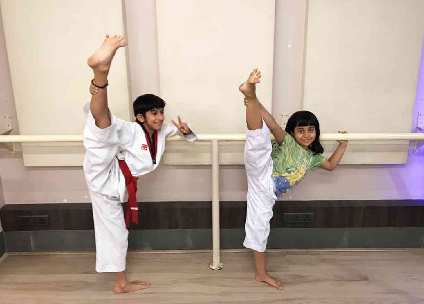 Taekwondo kids demo in basement studio